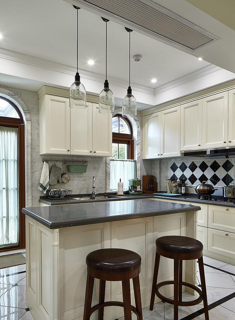 复古简欧风格厨房吧台效果图