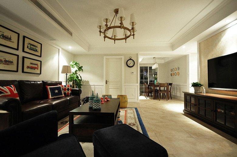 复古美式两室两厅吊顶设计