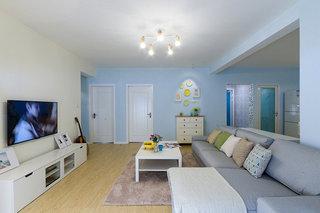 精美浅蓝色简约宜家风公寓效果图