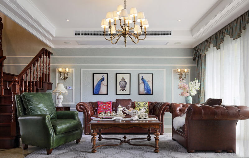 家装复式客厅美式风格装修效果图