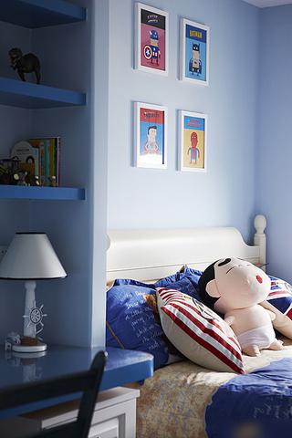 80平蓝色地中海风格二居室装潢效果图
