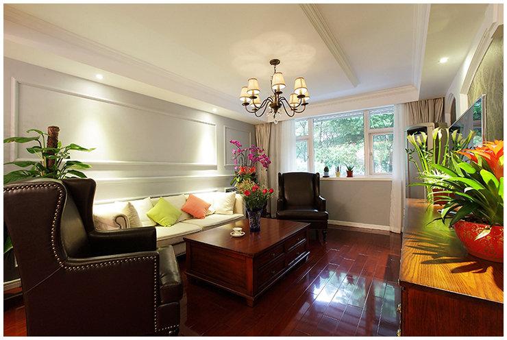 美式客厅线条沙发背景墙设计