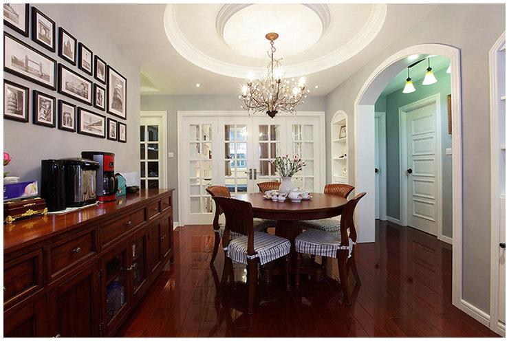 大气古典美式餐厅室内设计装修图