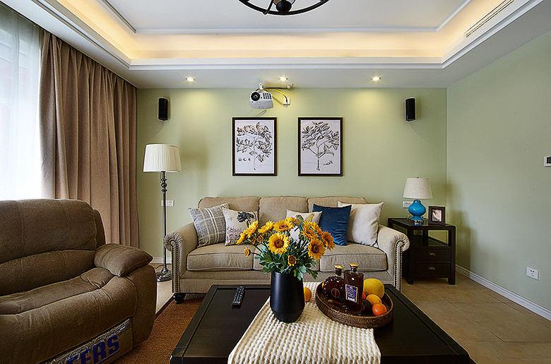 清新美式田园风格两室一厅装修美图