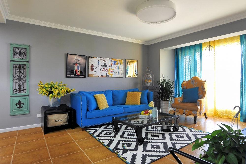 靓丽色彩混搭客厅效果图