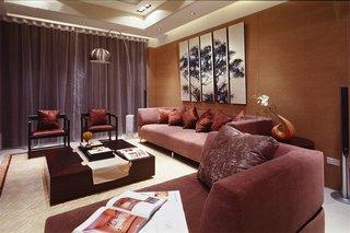现代中式三居客厅家装效果图