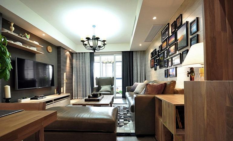 现代实木装修三居客厅室内设计效果图