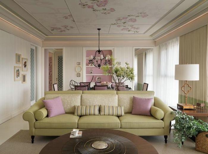 法式田园风格家装室内印花吊顶效果图
