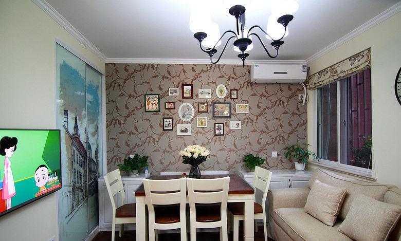 美式田园风餐厅背景墙效果图