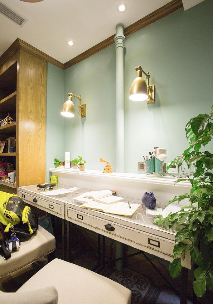 清新浅绿色混搭风格书房设计
