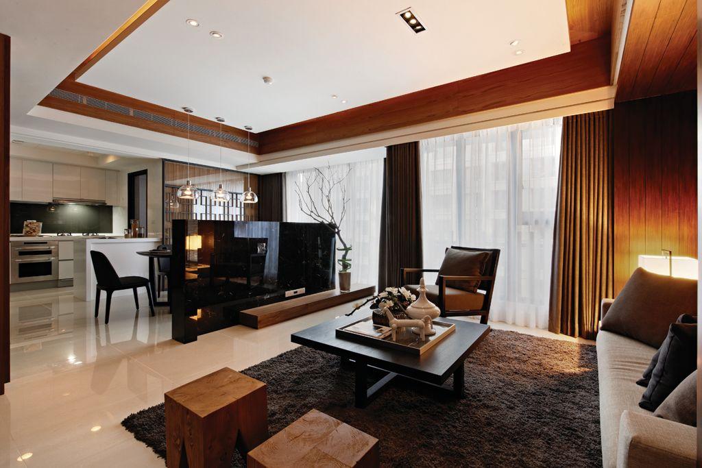 现代中式客厅吊顶效果图