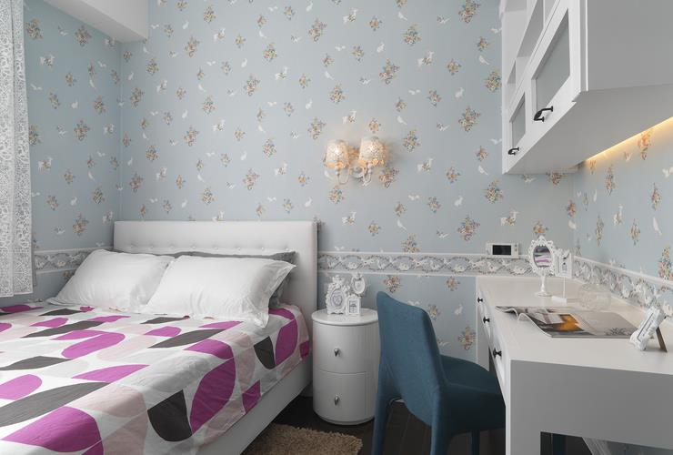 简欧卧室书房一体设计墙纸装饰效果图