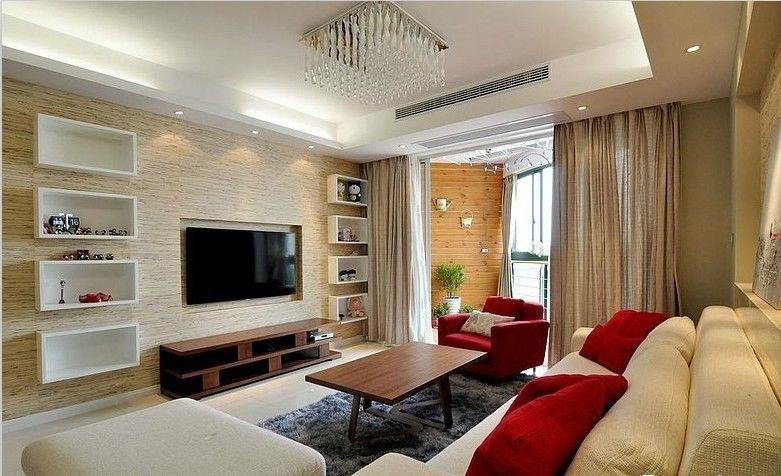 现代简约装修客厅电视墙设计