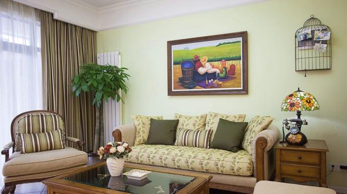 浅绿色田园风格两室两厅装潢图