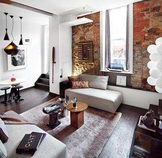 个性怀旧红砖工业风混搭小公寓设计