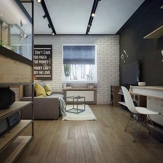 北欧休闲工业风混搭公寓装饰设计