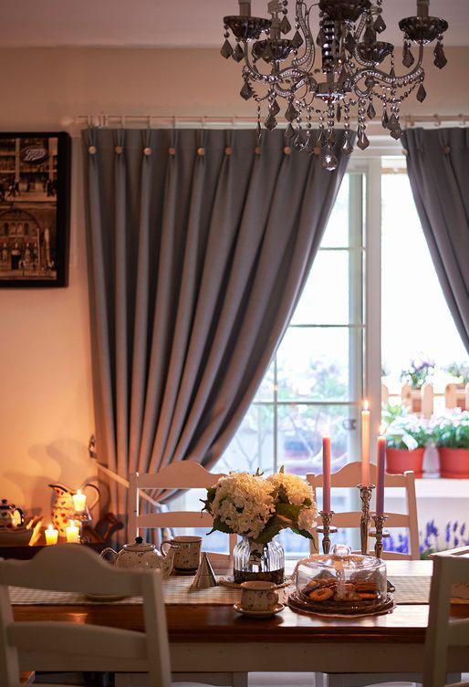 低奢浪漫美式餐厅窗帘装饰效果图片