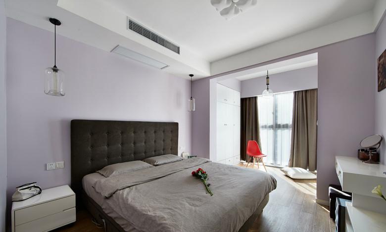 浪漫浅紫色简约风卧室效果图