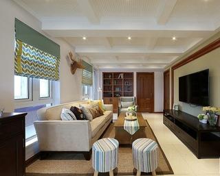 舒适优雅简约美式设计三居效果图欣赏