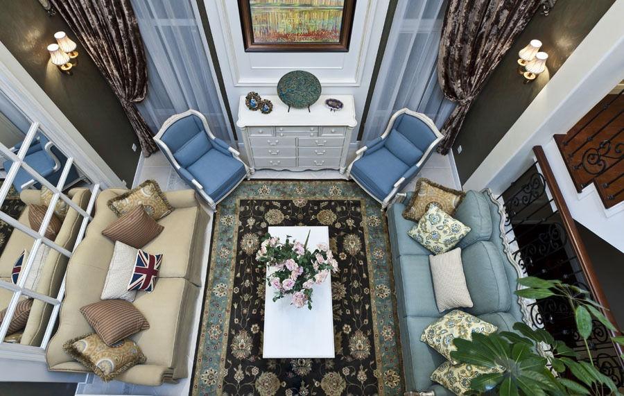 唯美欧式地中海风格别墅客厅俯视效果图