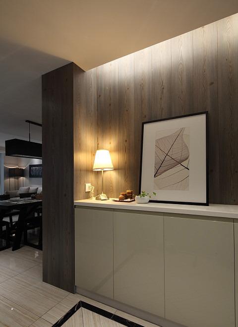 时尚现代玄关原木背景墙设计