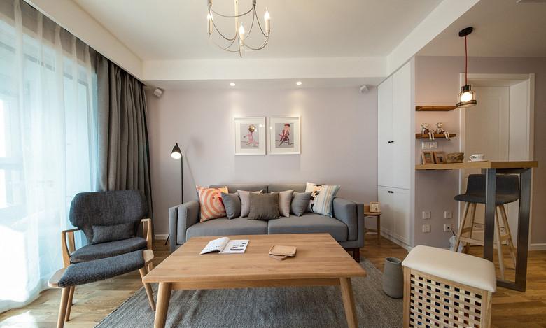 淡雅简洁日式两室两厅装潢图