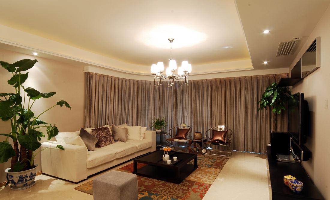 精致浅咖色现代新中式混搭公寓装潢设计欣赏