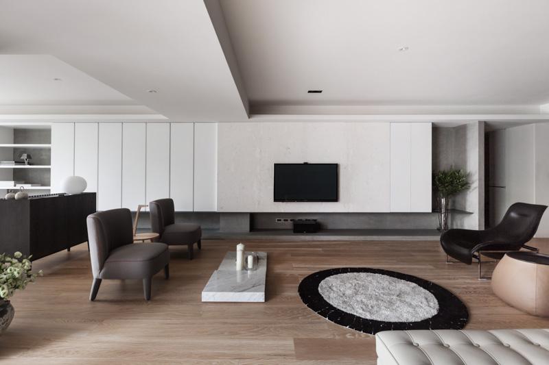 简约现代三居室单色调装修效果图