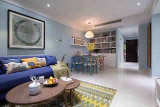 78平清新浅蓝色北欧田园风二居装潢设计