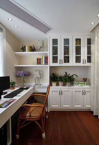 复古现代风混搭家装书房书柜设计效果图