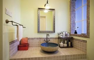 清新田园卫生间洗脸盆装饰图