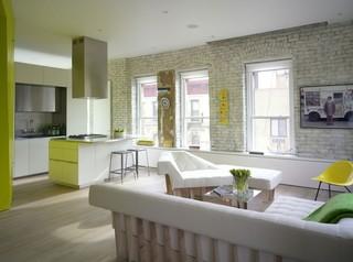 清新荧光黄复古北欧风混搭公寓装潢设计