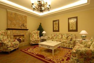 温馨暖调实木欧式田园风格三室两厅效果图