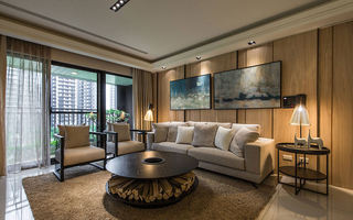 时尚奢华浅咖色现代风三室两厅精装修设计