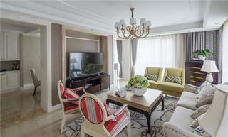美式简约设计 三居室室内装潢图