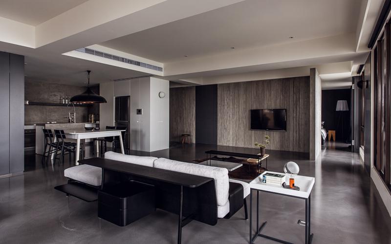 黑色现代风公寓装潢欣赏图