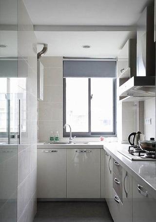 清爽明亮简约风厨房白色L型橱柜设计