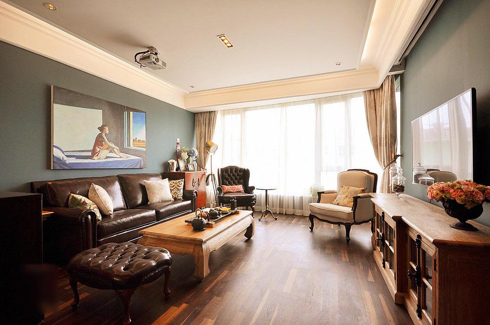 重彩复古美式混搭客厅装饰大全欣赏