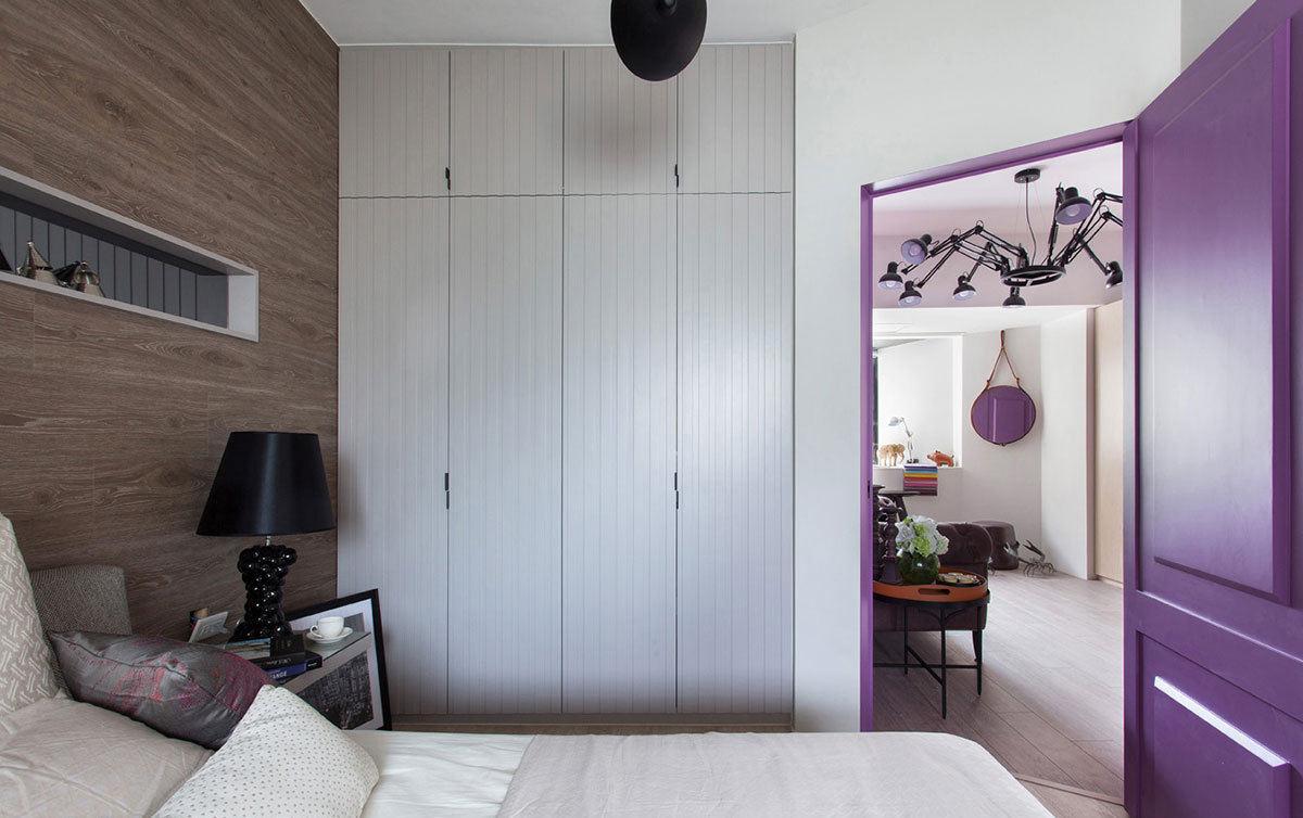 宜家现代公寓卧室白色衣柜设计