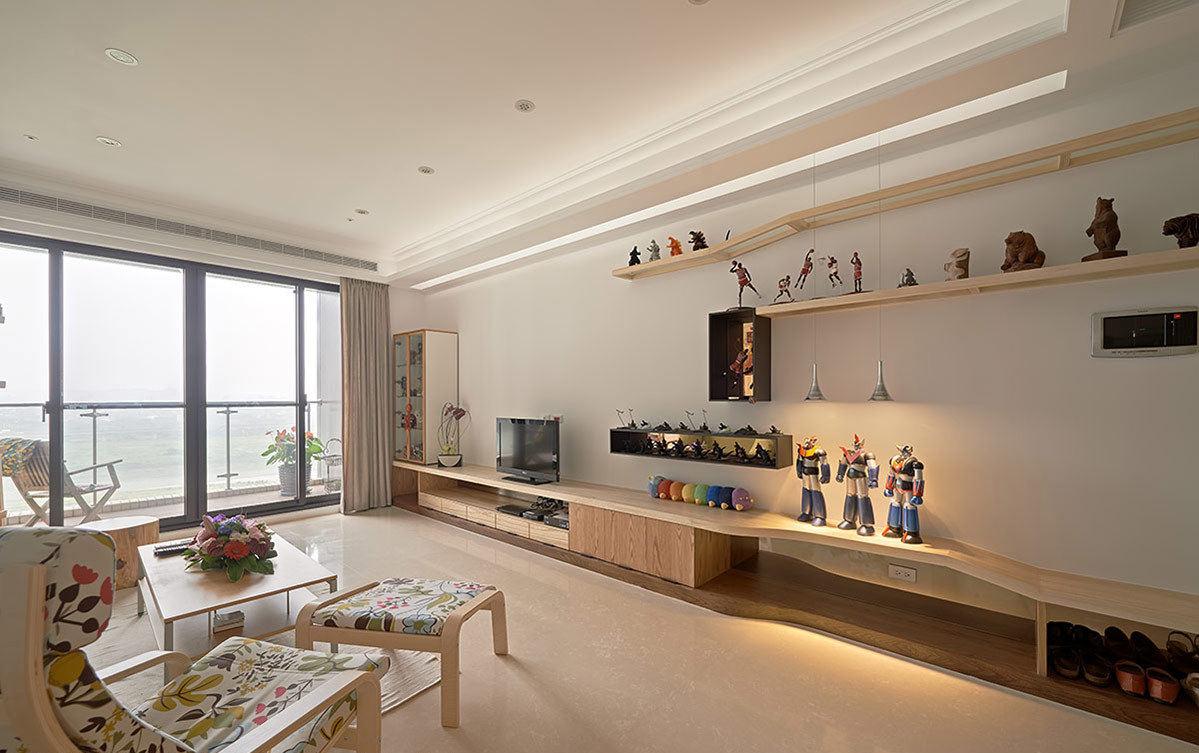 宜家北欧设计客厅原木电视柜装饰效果图