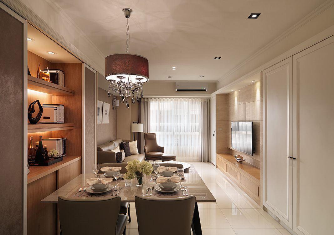 时尚现代简约风格客餐厅吊顶家居装饰设计
