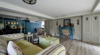 蓝色清新美式乡村田园风情公寓装潢设计