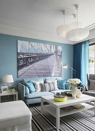 宜家蓝色调公寓家装欣赏图