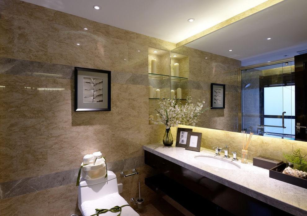 高档现代风大理石卫生间干区装饰设计
