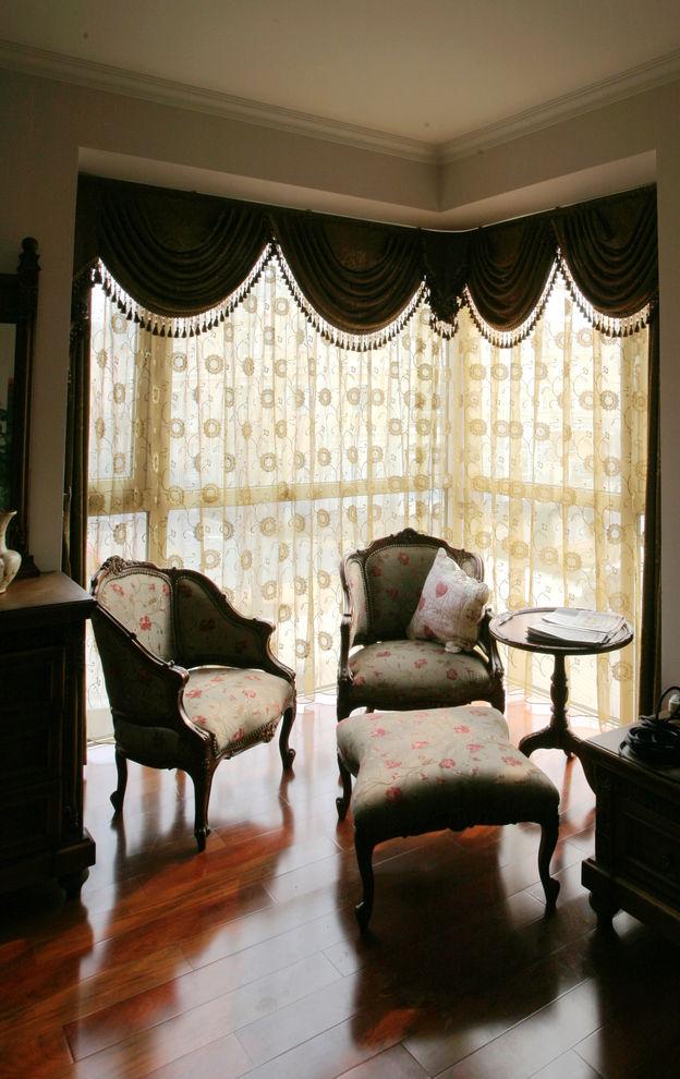 欧式田园风格 室内阳台窗帘装饰图