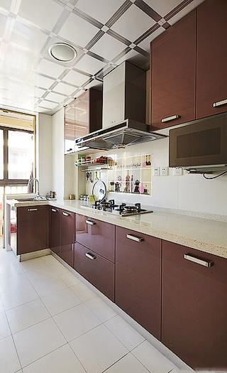 时尚巧克力色现代风厨房L型厨房装潢