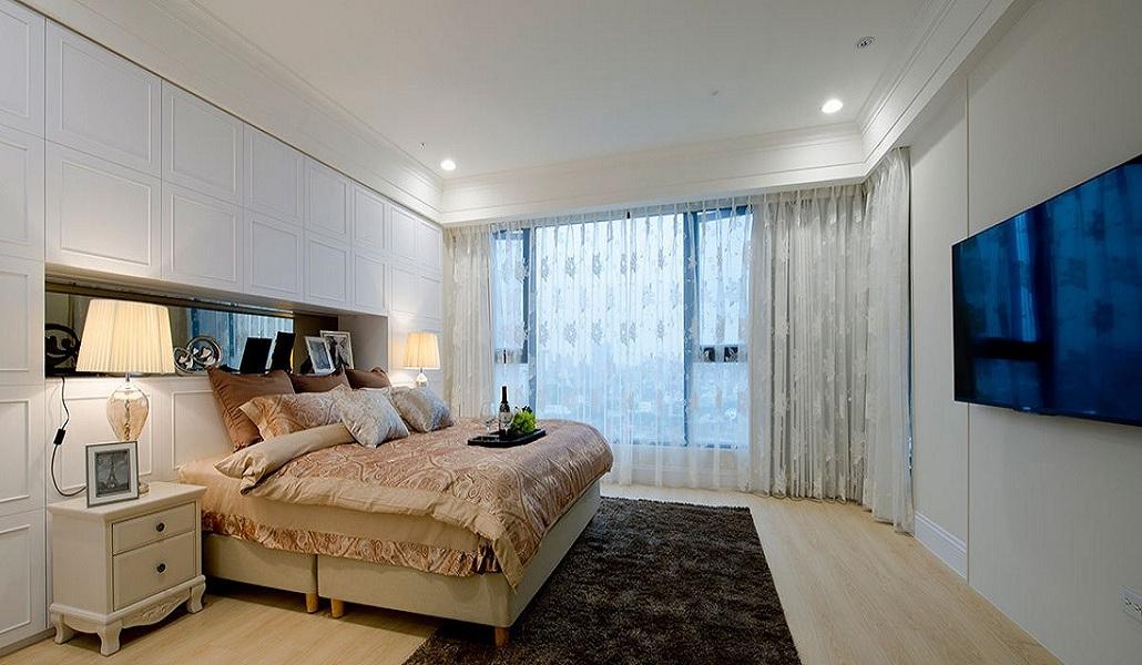 时尚清新明亮简欧卧室装饰效果图大全