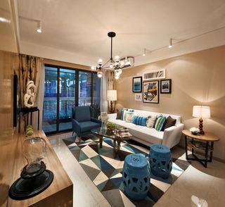 时尚唯美蓝调美式后现代公寓样板房案例欣赏
