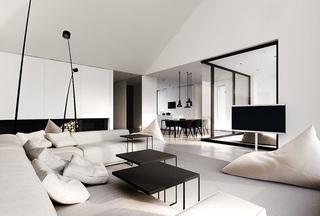 时尚黑白调现代简约风别墅装饰效果图