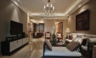 时尚浅咖色新中式设计三室两厅效果图